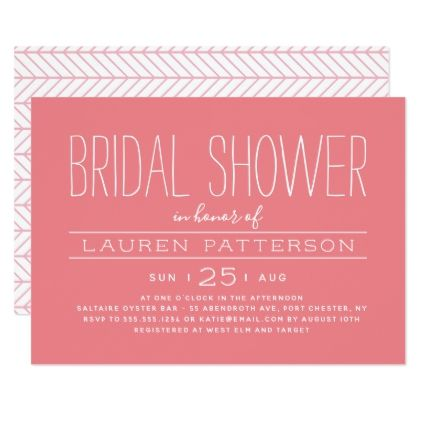 simple modern bridal shower invitation pink