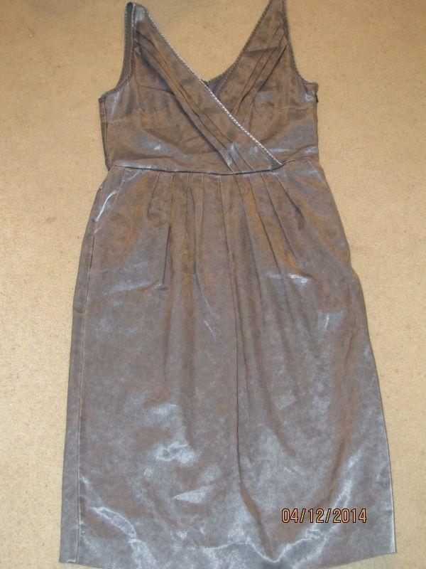 BCBGirls BCBG Silver Pewter Dress Sleeveless Satiny Size M #BCBGirls #Classic