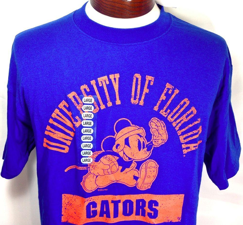 Florida Gators T Shirt Disney Mickey Mouse Football Blue Mens Large NWT Soffe
