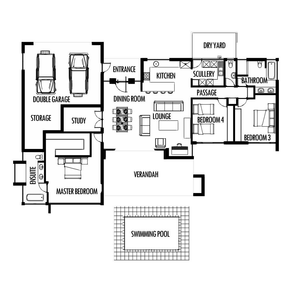3 Bedroom 285m2 Floor Plan Only 4 Bedroom House Plans One Bedroom House House Plans South Africa