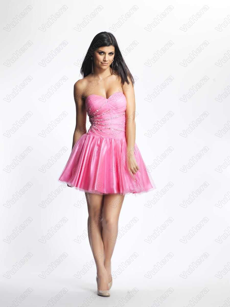 A Line Sweetheart Sexy Beaded Pink Mini Prom Dres
