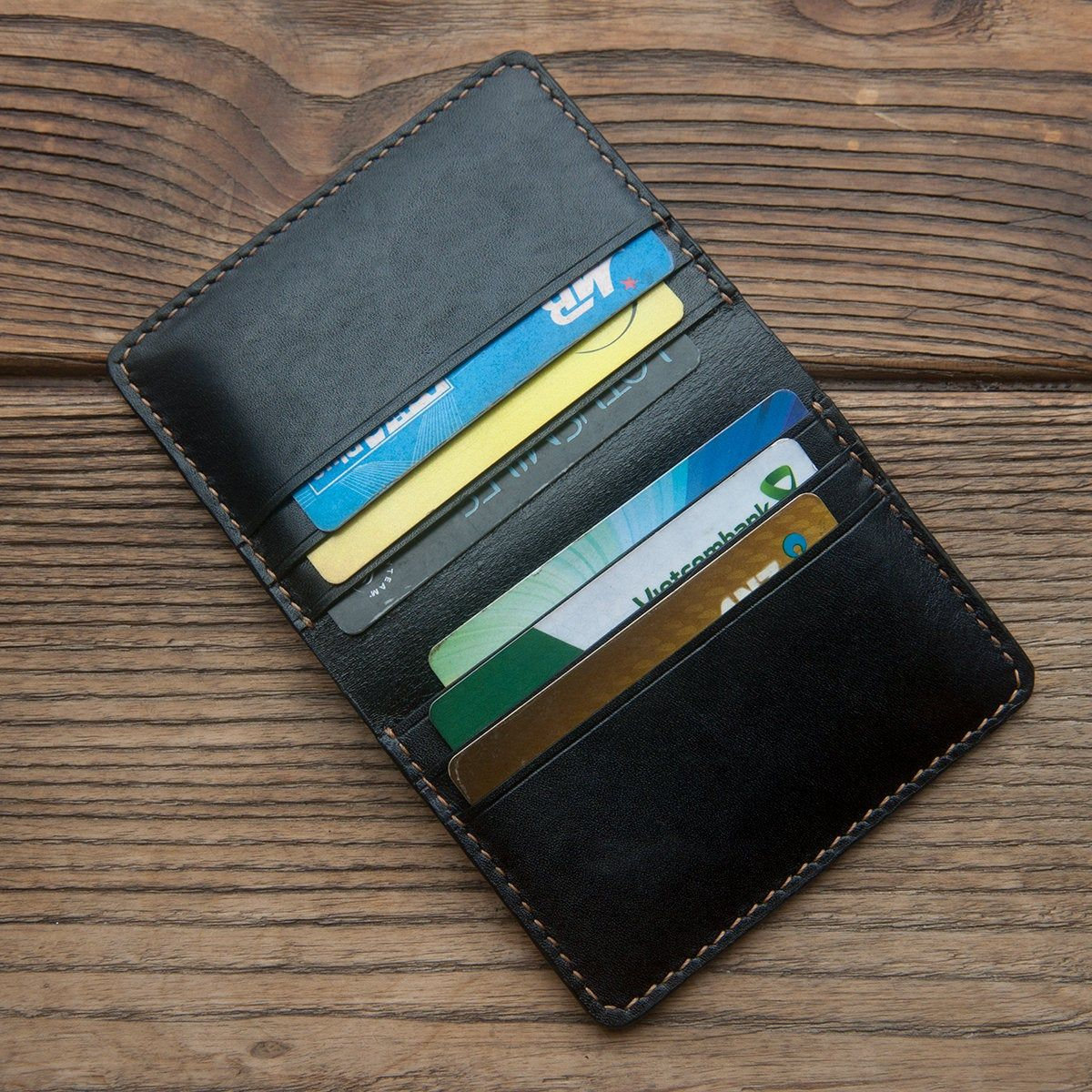 Business Black Leather Card Case Handmade Wallet Card Etsy Leather Card Case Leather Card Wallet Personalized Wallet