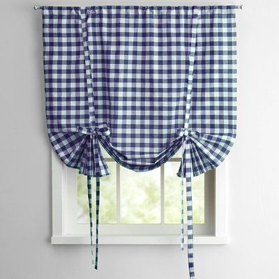 Sweet Home Collection Buffalo Check Decorative Tie-Up Shade Color: Navy