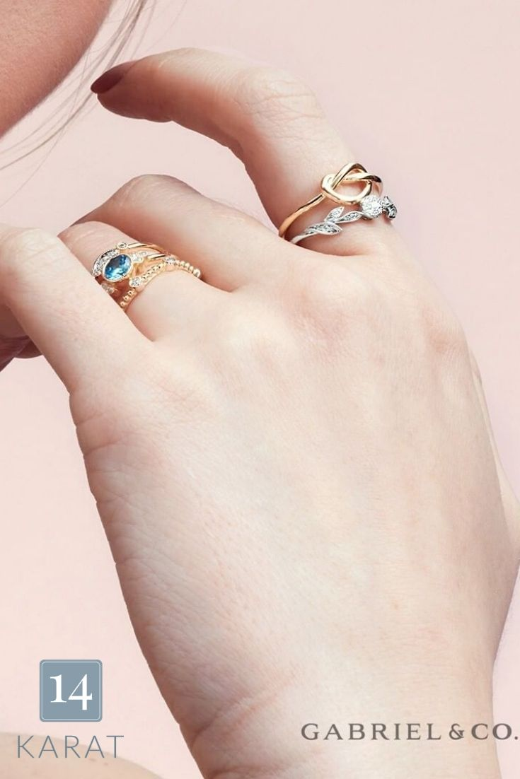 Happy stacking! ❣️Via: Gabriel & Co  #RingStack #FineJewelry #Rings