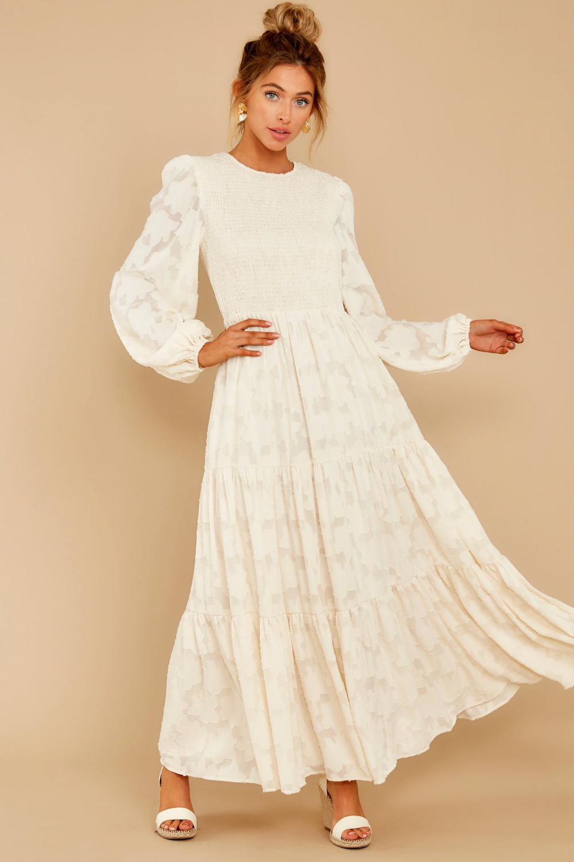 abigail cream midi cocktail dress