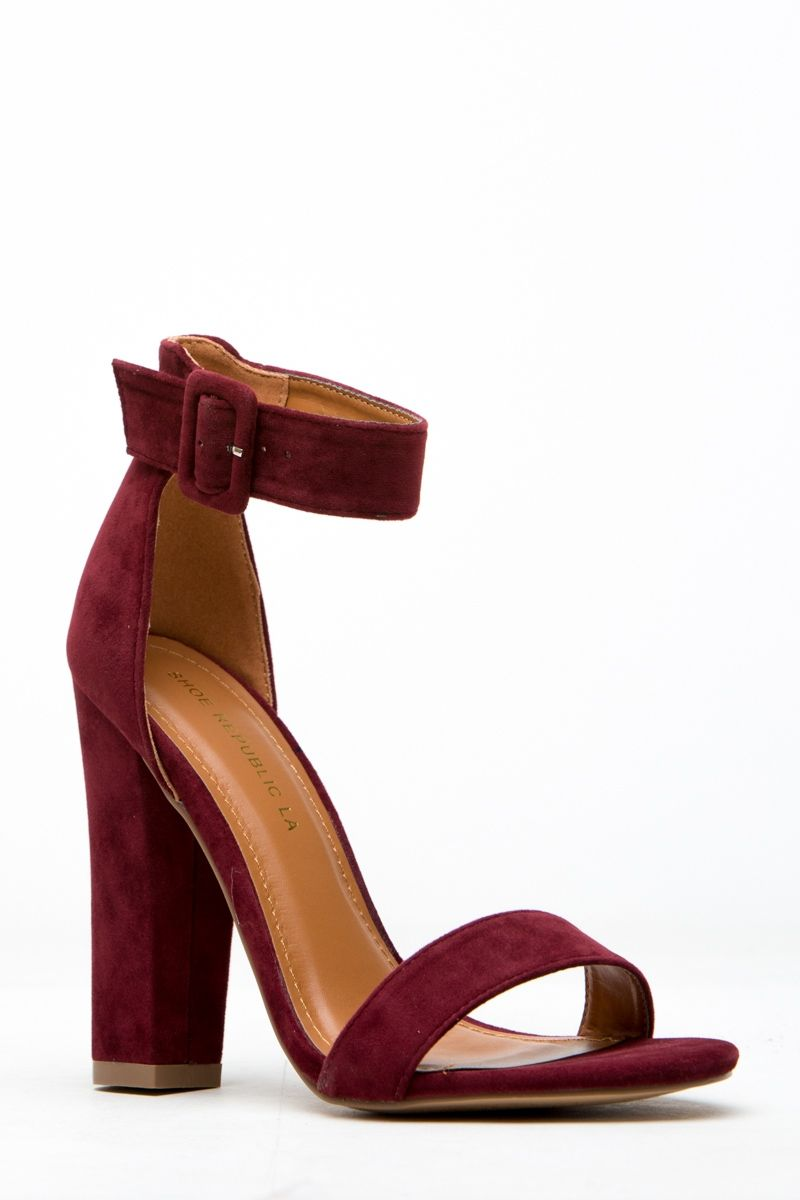 42c5091f4a Burgundy Faux Suede Chunky Ankle Strap Heels   Cicihot Heel Shoes online  store sales Stiletto Heel Shoes