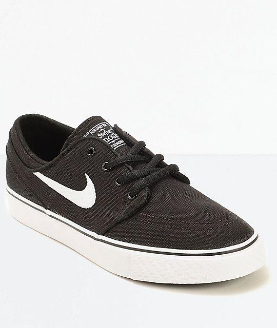 Nike SB Stefan Janoski Black Canvas Boys Skate Shoes | Zumiez