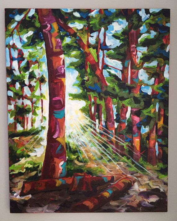 ORIGINAL painting Back Woods 22x28 by GeorgianPine on Etsy #art #painting #forest #tress #canada #sunlight