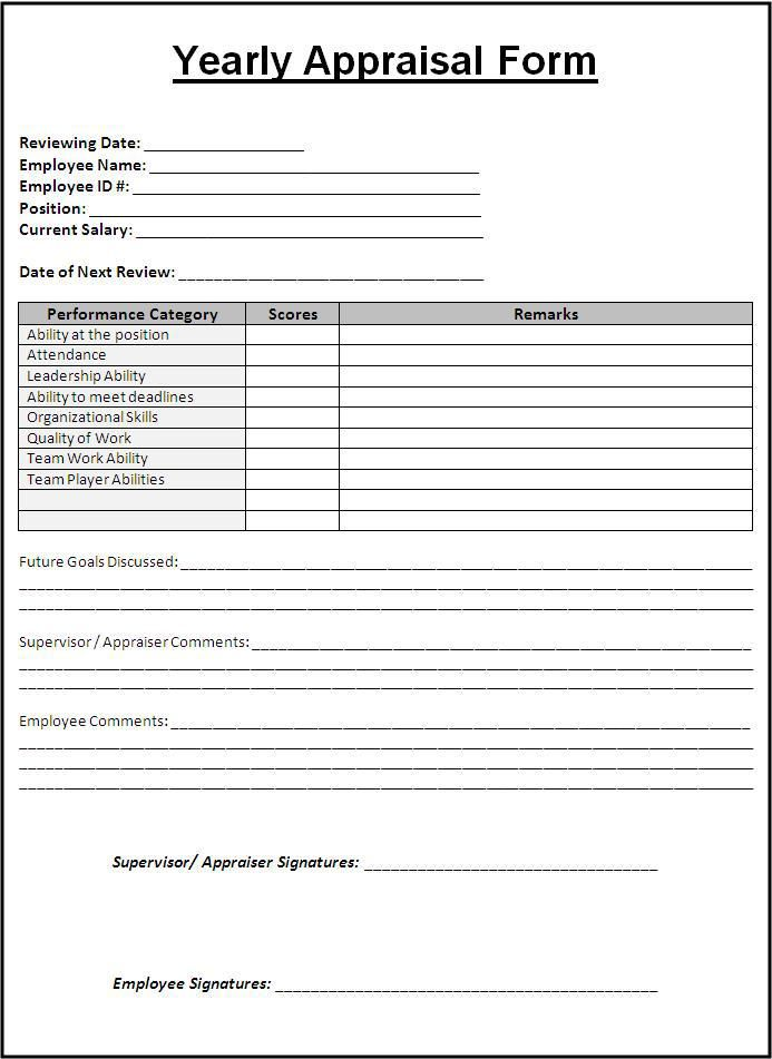 Image result for work performance form Leadership Pinterest - blank sponsor form