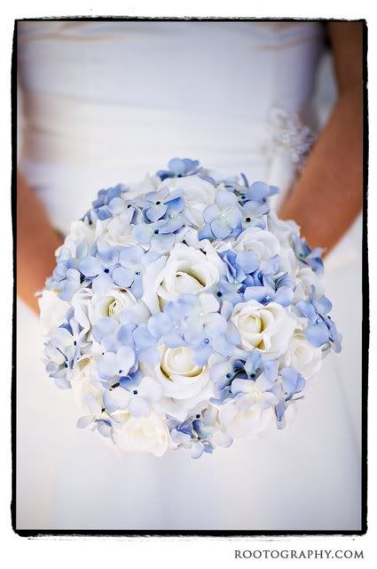 5b1f9ea2080 Fake flowers - bride's bouquet made of white and light blue silk ...