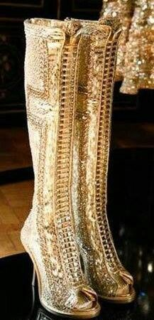 Givenchy Gold knee high boots
