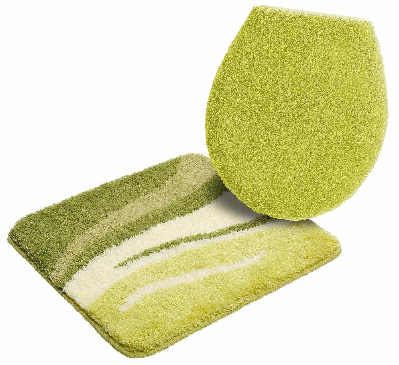Details:  Grafisch gemustert, Ringsum eingefasst, gekettelt, Fußbodenheizungsgeeignet,  Qualität:  1,8 kg/m² Gesamtgewicht (ca.), 25 mm Gesamthöhe (ca.), Waschbar bei 40°C, Latexierter Rücken, Trocknergeeignet,  Flormaterial:  100 % Polyacryl,  Wissenswertes:  WC-Deckel im 2-tlg. Set ist mit eingefasster Befestigungsschnur, Das 2-tlg. Set besteht aus einer Matte 55/50 cm und einem WC-Deckel-B...