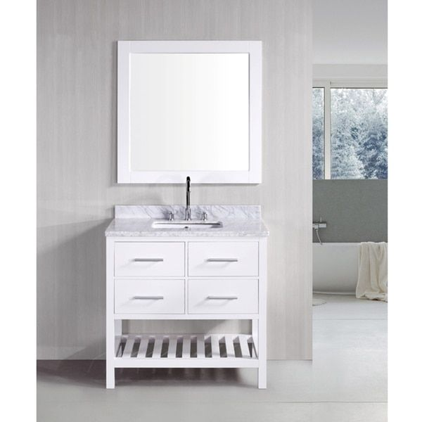 Design Element London Pearl White Solid Wood 36Inch Transitional Adorable Design Element Bathroom Vanity 2018