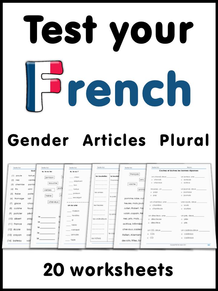 french test yourself gender articles plural french worksheets worksheets and gender. Black Bedroom Furniture Sets. Home Design Ideas