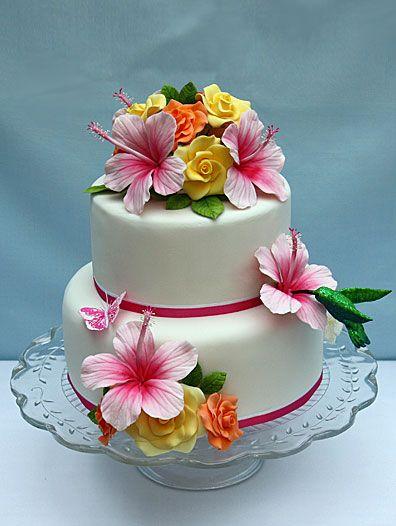 Hibiscus Gum Paste Flowers Beautiful Hibiscus Cake Luau Cakes Hawaiian Cake