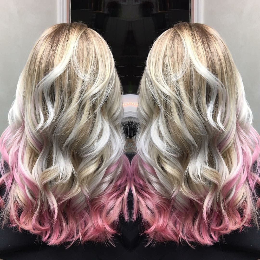 Confetti Blonde Deconstructed Strawberry Blonde With Icy Blonde And Pink Tips Like Dessert For Y In 2020 Pink Blonde Hair Blonde Hair With Pink Tips Blonde Hair Tips