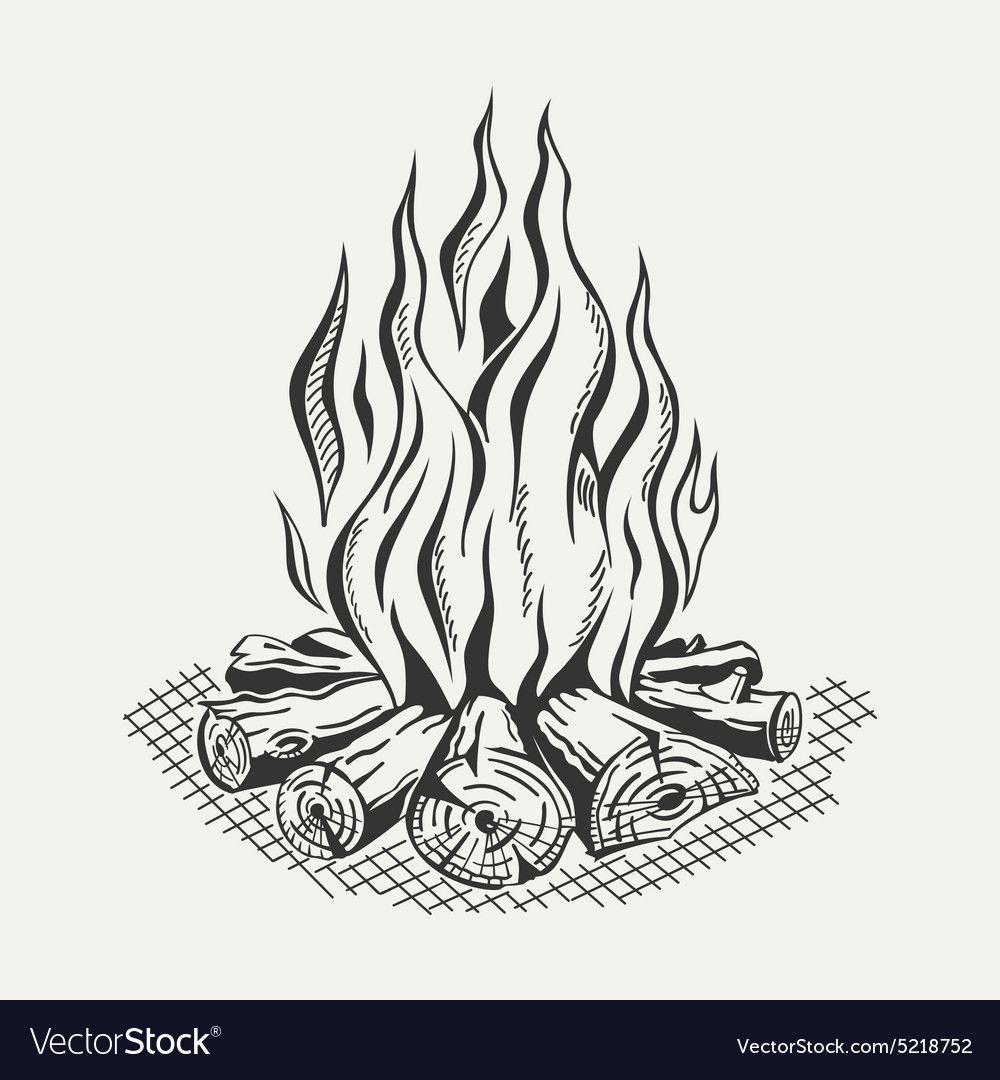 Isolated Camp Fire On White Royalty Free Vector Image Aff Fire White Isolated Camp Ad Campfire Drawing Camp Fire Tattoo Drawing Flames
