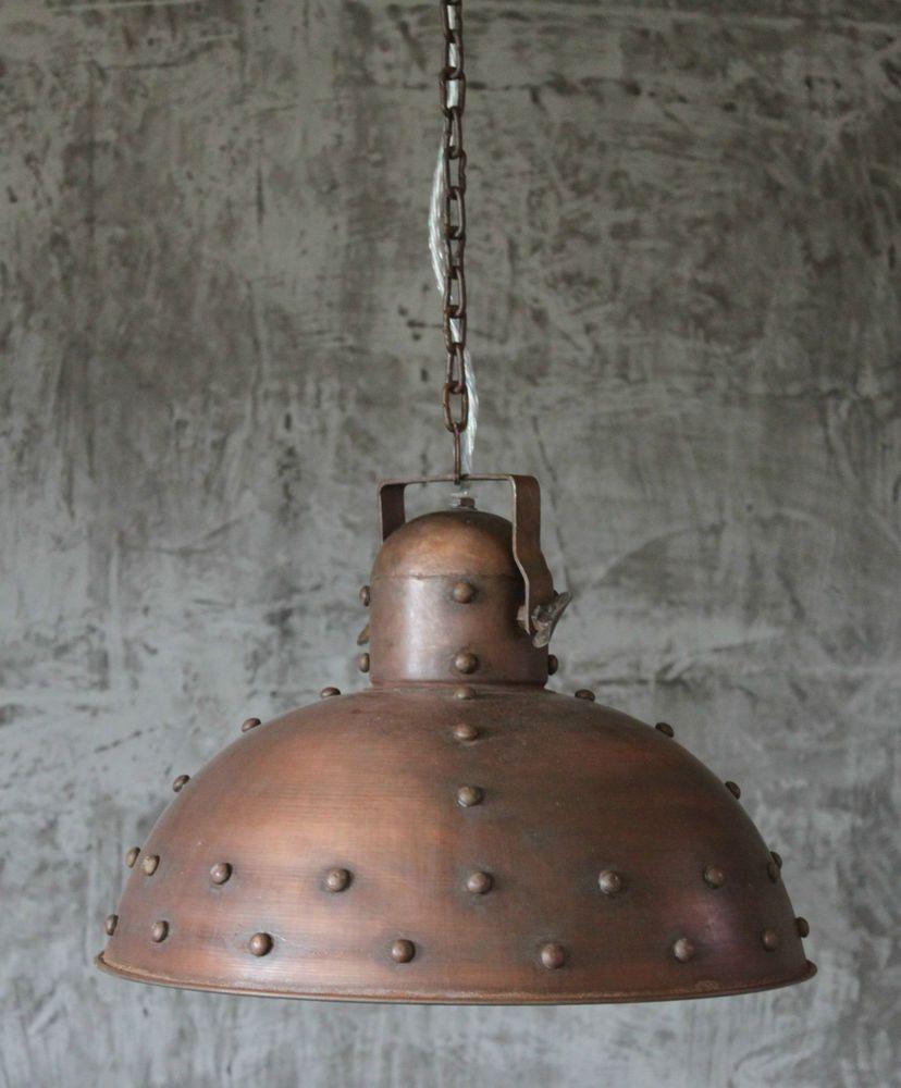 h nge lampe 40 cm alte industrielampe kupfer loftlampe. Black Bedroom Furniture Sets. Home Design Ideas
