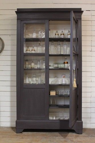 Painted French Apothecary Cupboard  Armoire Rough Luxe Vintage Shabby Chic