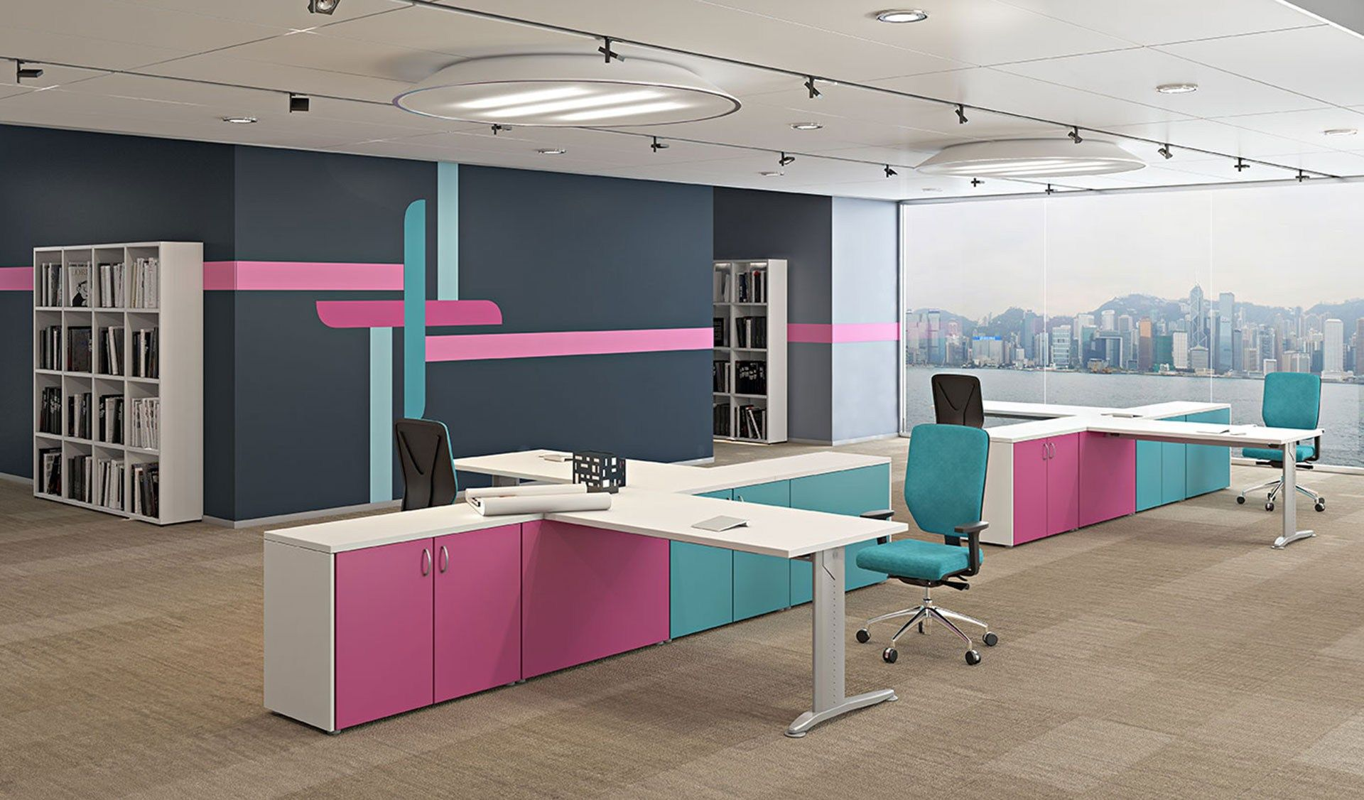 Multiple Office Workstation For Open Space Compact Collection By