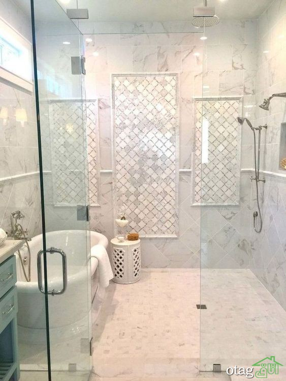 آشنایی با 12مدل سرویس بهداشتی لاکچری Bathroom Interior Bathroom Tile Designs Luxury Bathroom Shower