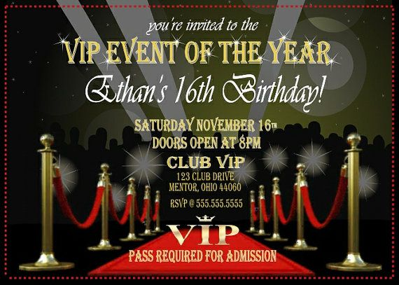 VIP Party Invitation Red Carpet Digital Download Or By BowersInk 2200