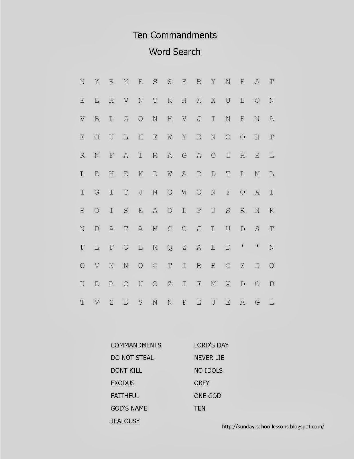 10 Commandments Word Search
