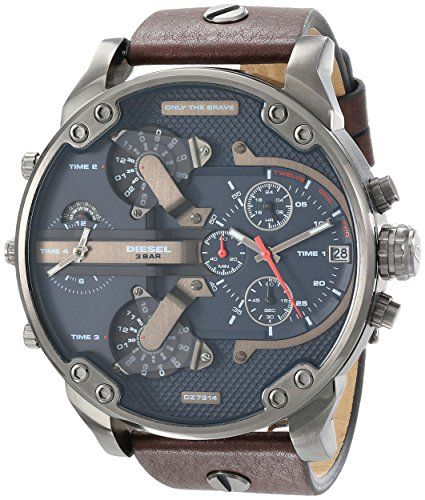 d6b377fe348a Diesel Men s DZ7314 The Daddies Series Stainless Steel Watch With Brown  Leather Band Diesel