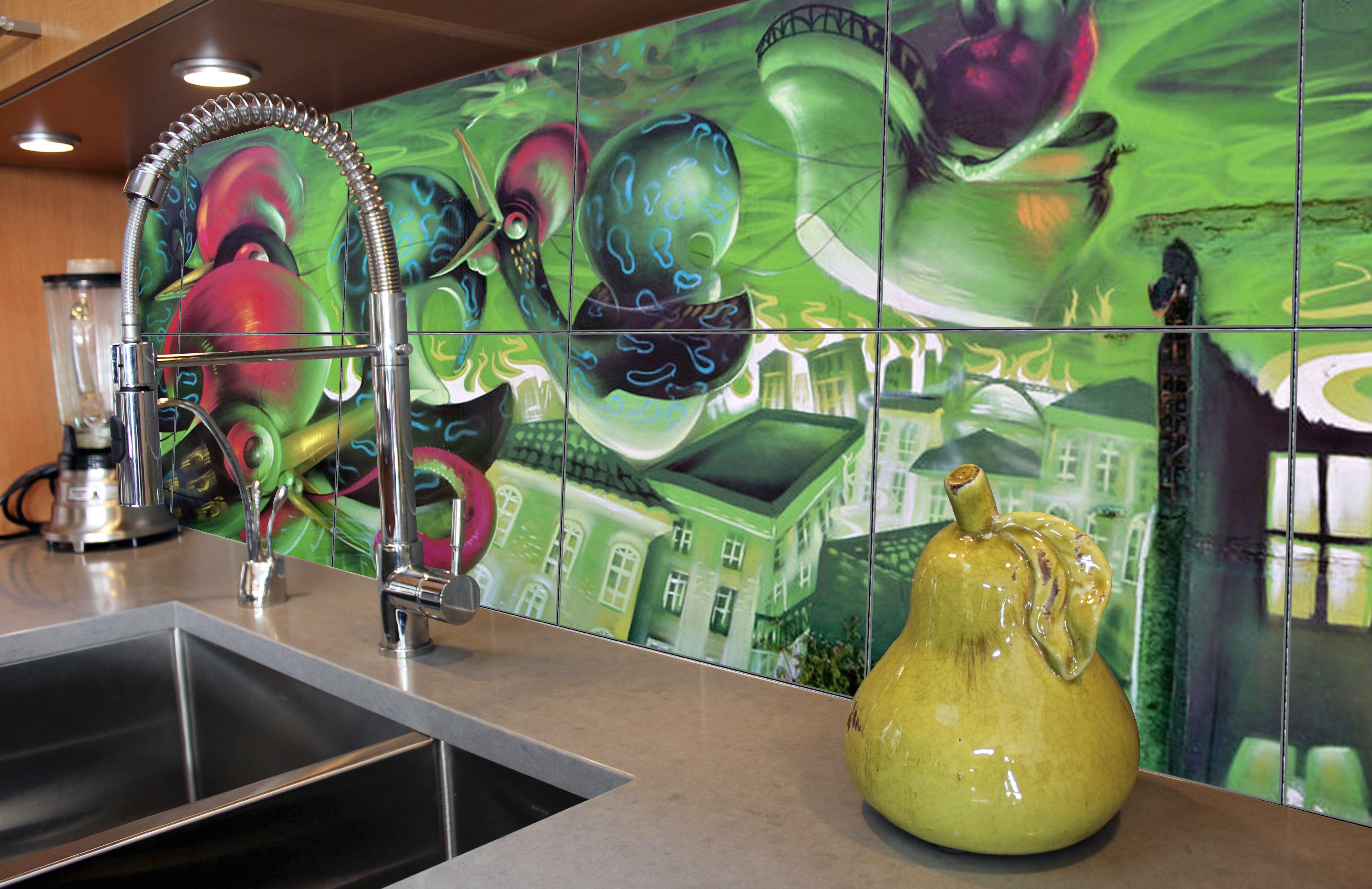 Decorative Tiles Australia New Cool Streetart Tiles Are Used To Create This Kitchen Splashback Inspiration Design