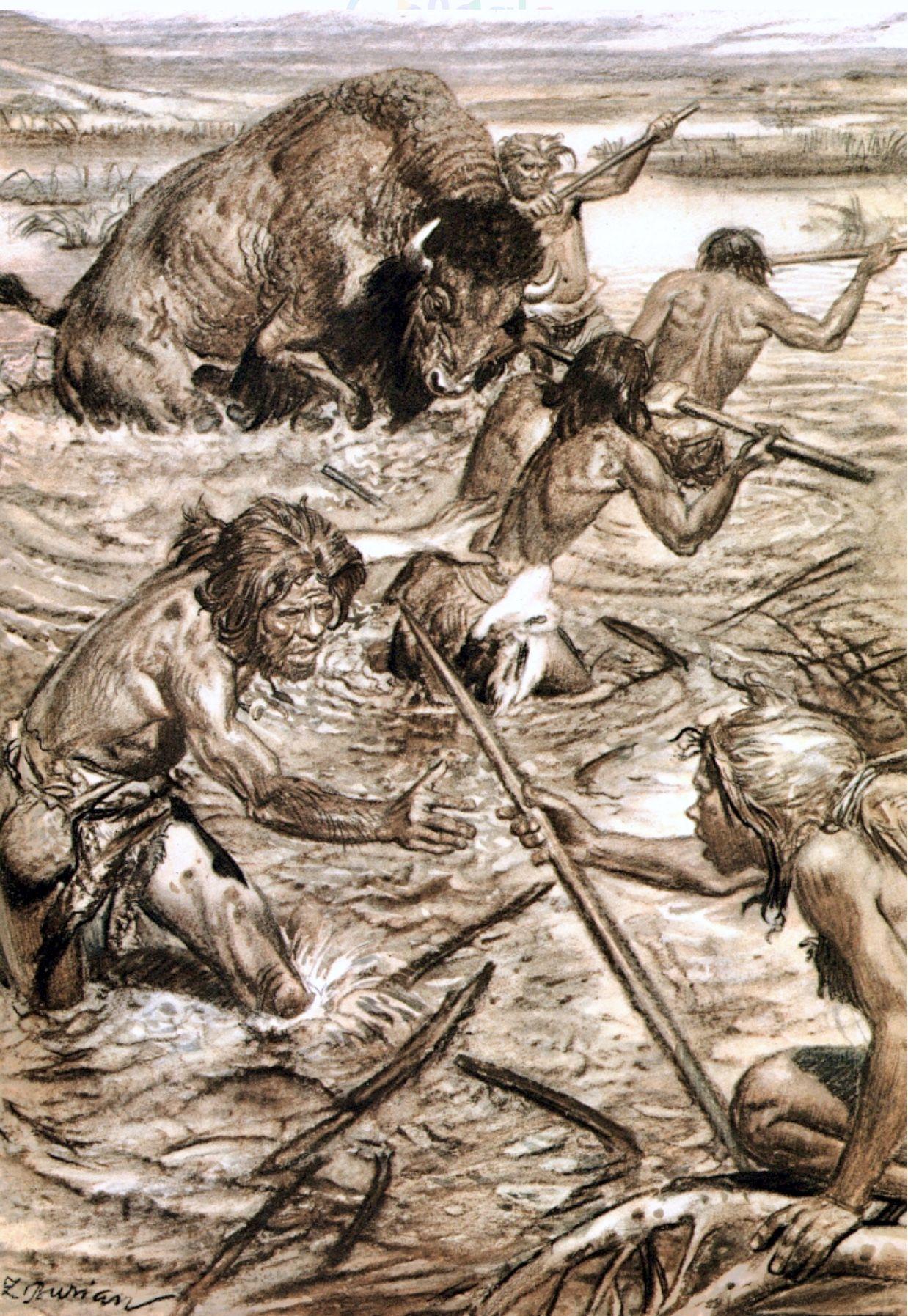 Ice Age Men Hunting A Prehistoric Bison Zdenek Burian