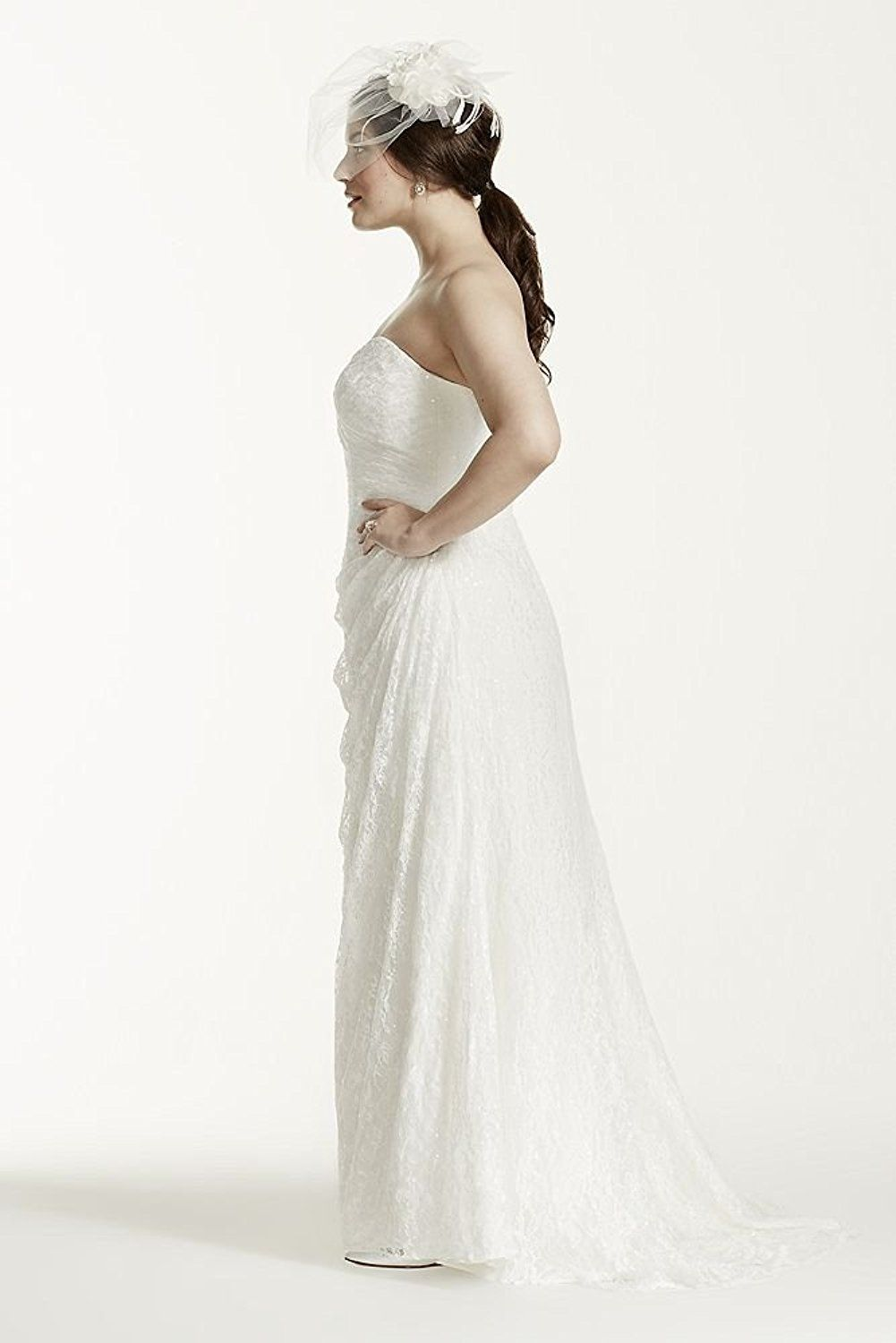 Strapless lace over satin plus size wedding dress style wg