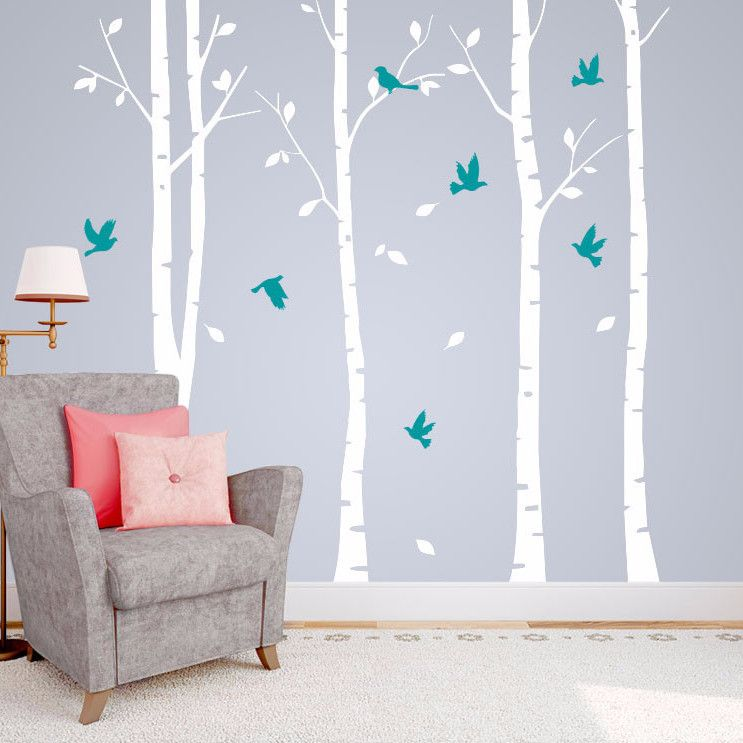 Set of 4 Birch Tree Wall Stickers with Flying Birds