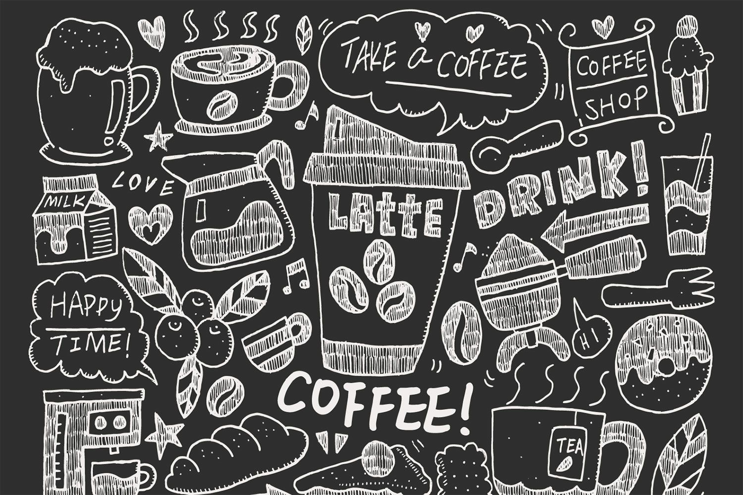 coffee doodle wallpaper for cafe decor | [wall coverings