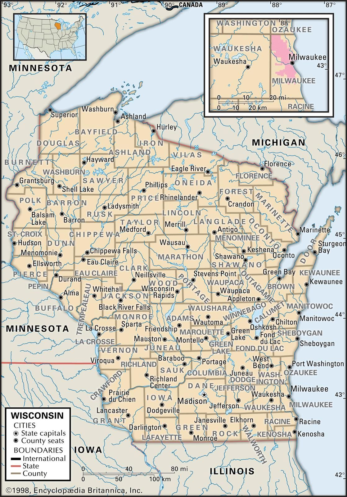 Map of Wisconsin Counties including interactive map of counties and