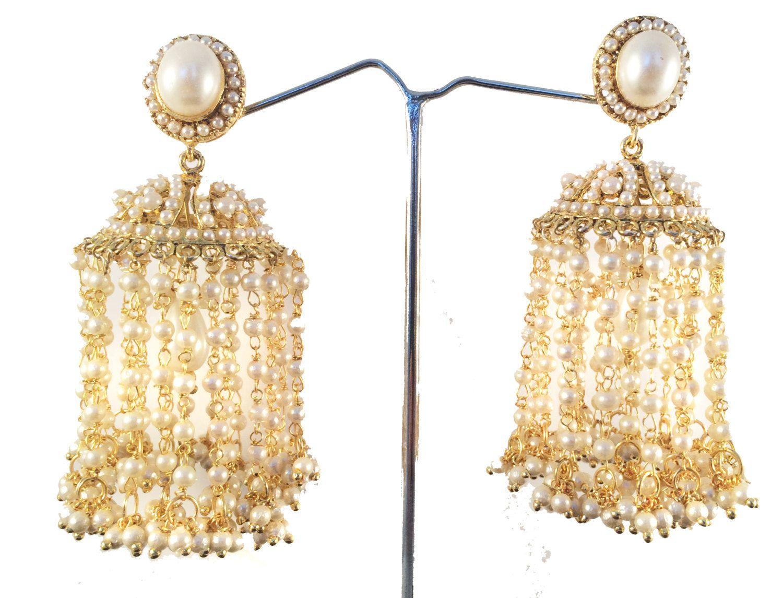Gold JHUMKAS,bridal pearl earrings,Ethnic Jhaalar Pearl ...