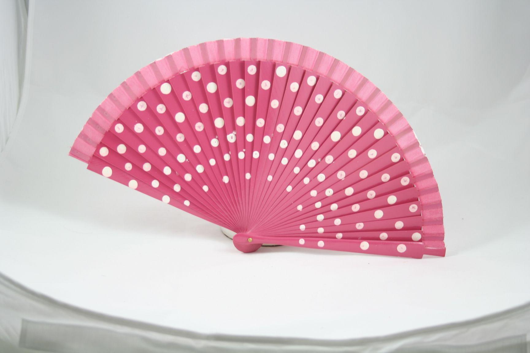 Abanicos para bodas.Abanico de lunares color rosa | Abanicos para ...