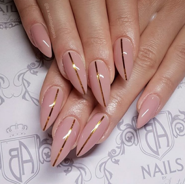 Gold Strip Nail Art Nailpro Nails Pinterest Nails Nail Art