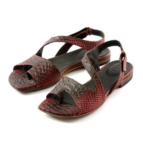 flat sandals women leather sandals red sandals by MYKAshop on Etsy