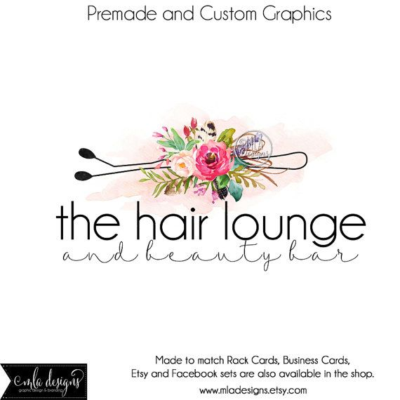 Hair Stylist Logo Premade Logo For Hair Stylist Watercolor Logo
