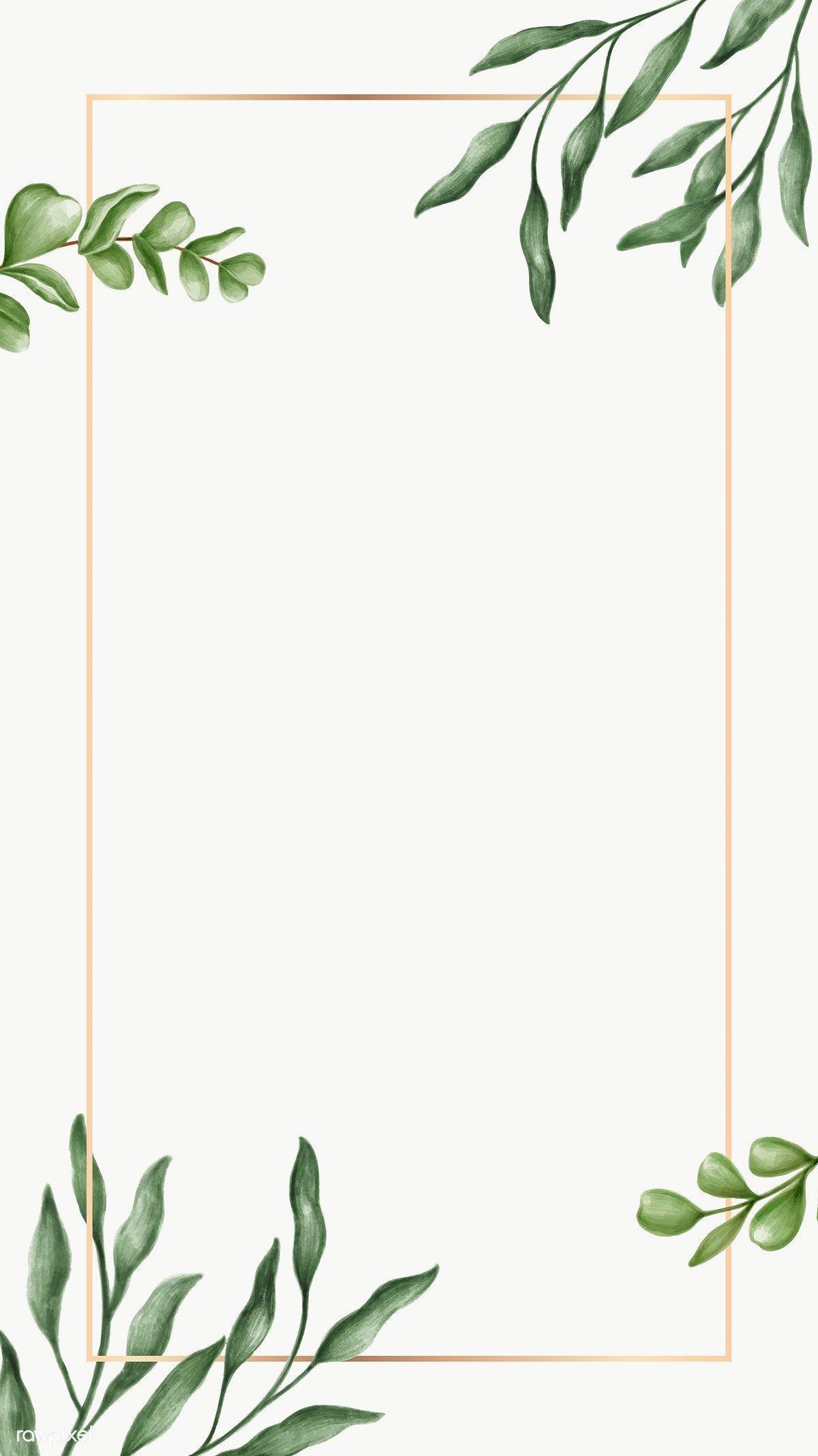 Download Premium Png Of Green Leaves Frame Transparent Png 2032819 In 2020 Flower Background Wallpaper Gold Wallpaper Background Floral Border Design
