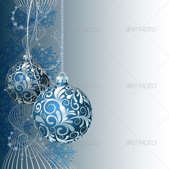 Blue Christmas Card With Christmas Balls And Snowflakes Blue Christmas Christmas Cards Christmas Vectors