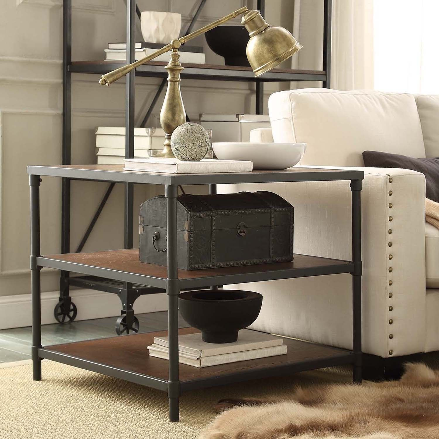 Inspire Q Harrison Industrial Rustic Pipe Frame Accent End Table