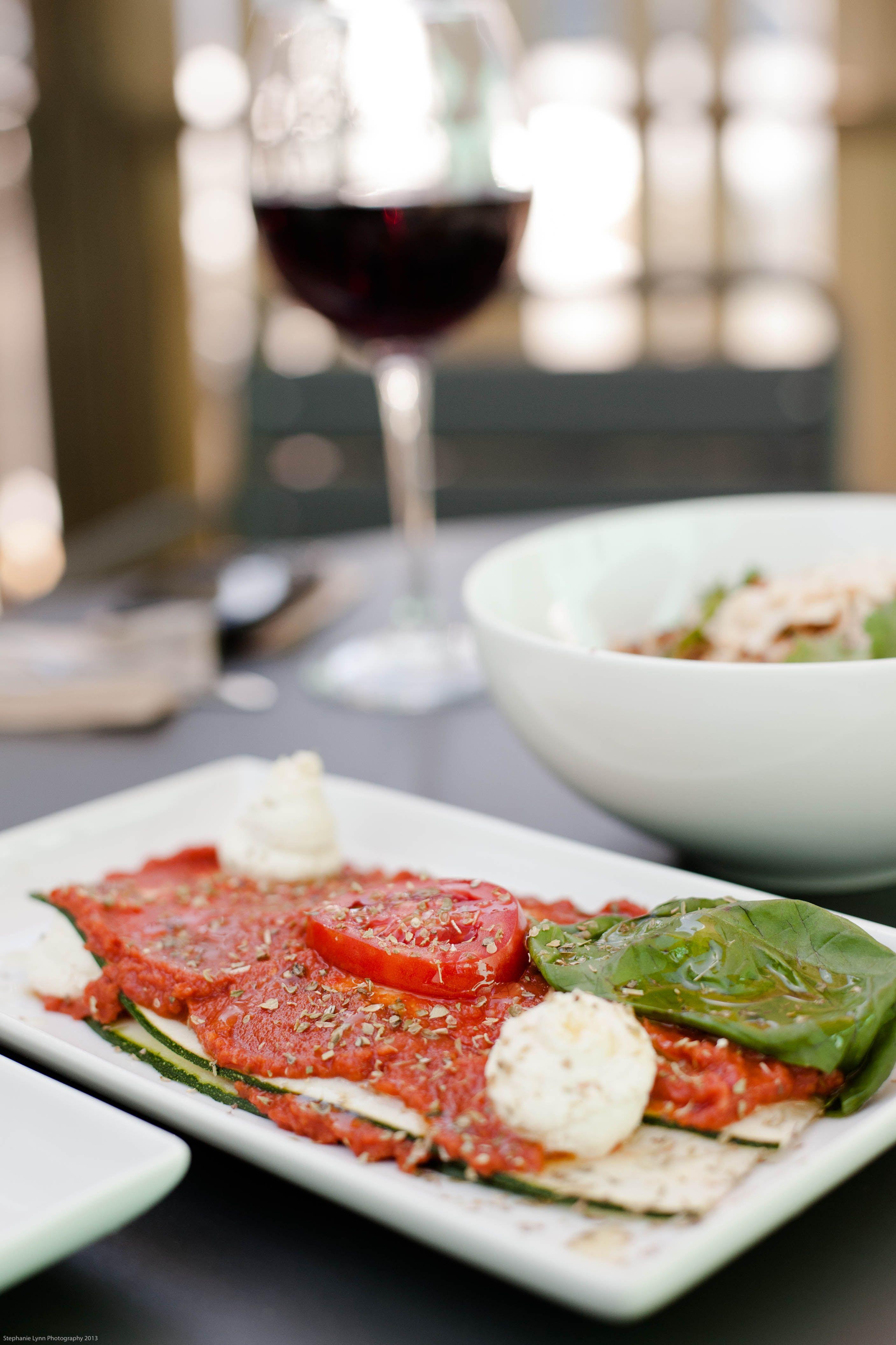 living lasagna - zucchini pasta, sundried tomato marinara, macadamia ricotta, basil pesto, olive oil