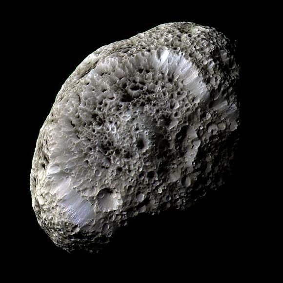 Enhanced-color image mosaic of Hyperion from Sept. 26, 2005. (NASA/JPL/SSI). On Sunday, May 31, 2015 the Cassini spacecraft will perform its last close pass of Hyperion, Saturn's curiously spongelike moon. At approximately 9:36 a.m. EDT (13:36 UTC) it will zip past Hyperion at a distance of about 21,000 miles (34,000 km) – not its closest approach ever but considerably closer (by 17,500 miles/28,160 km) than it was when the image above was acquired.