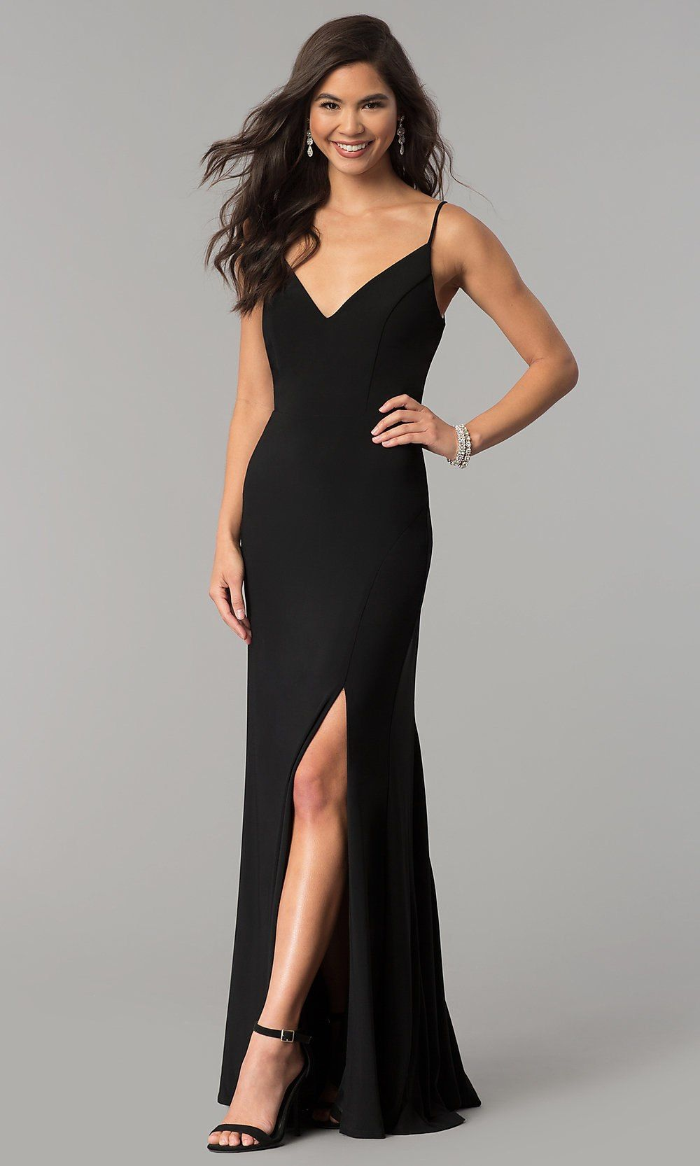 Vneck long black prom dress with side slit in formal dresses