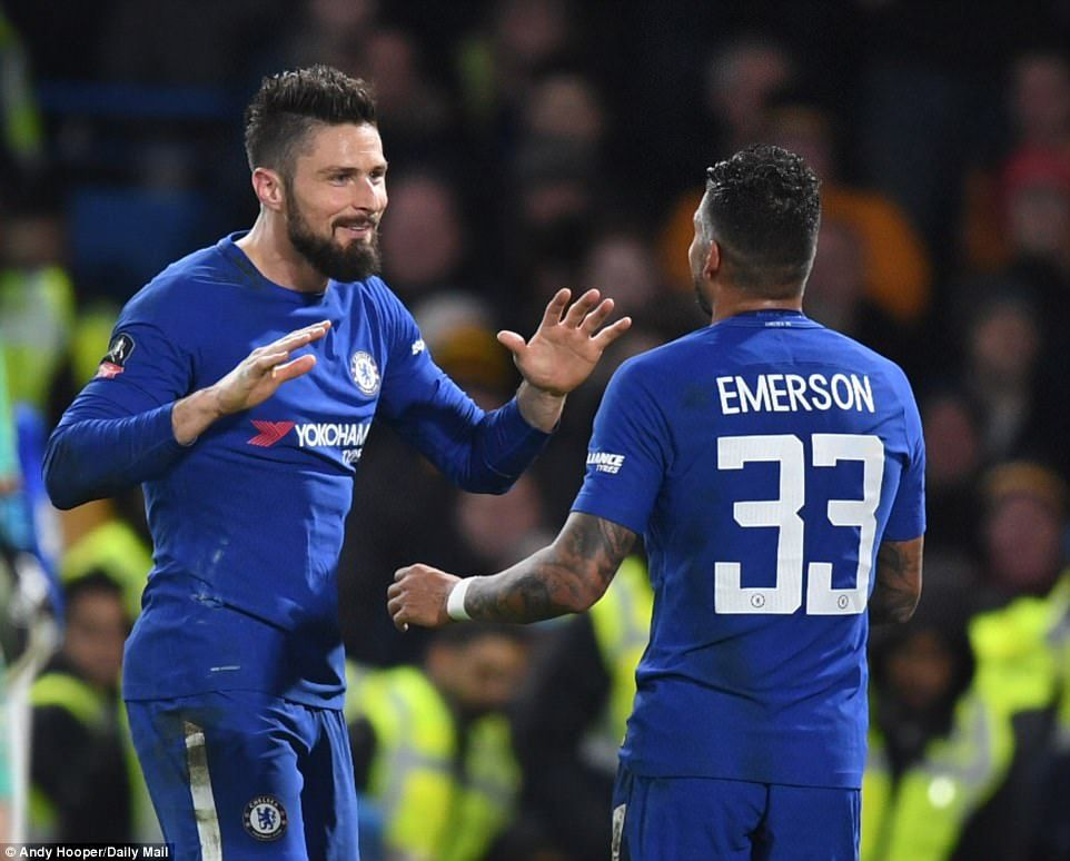 c811350699 2018  Olivier Giroud celebrates with fellow new signing Emerson Palmieri  after getting off the mark in a Chelsea shirt to make it 4-0 in the FA Cup  5th. ...