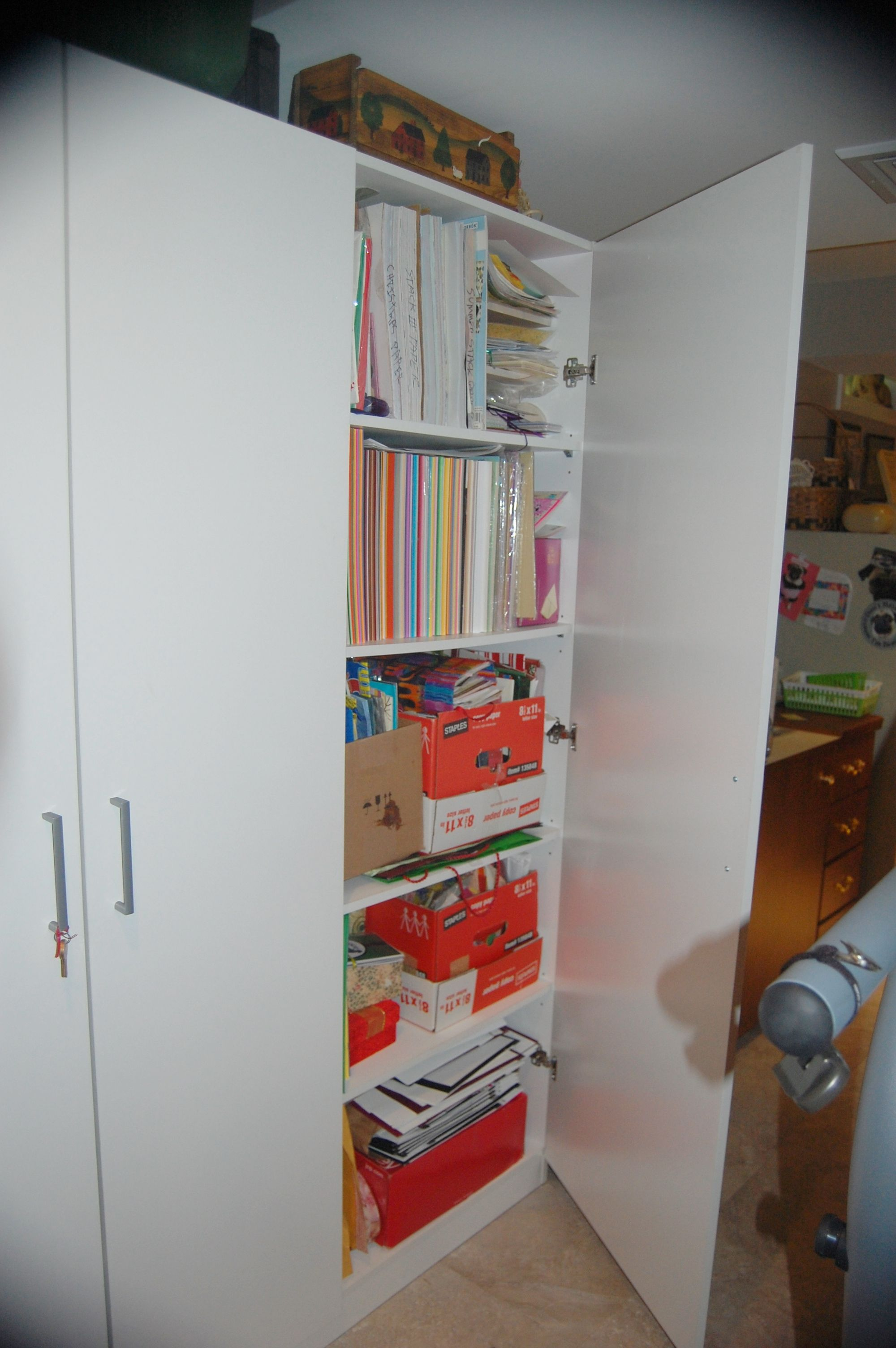 Ikea Dombas Cabinet Showing Cardstock, Papers, Cards, Gift Bags And