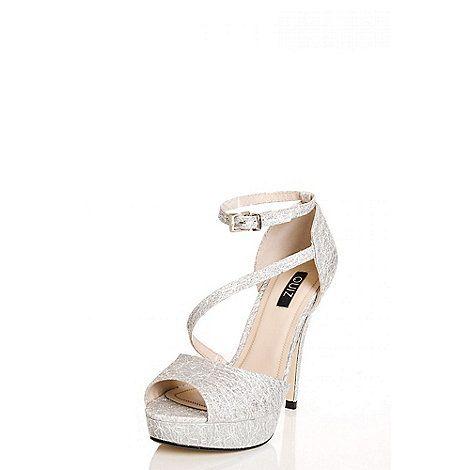 Quiz Silver Glitter Mesh Platform Sandals | Debenhams