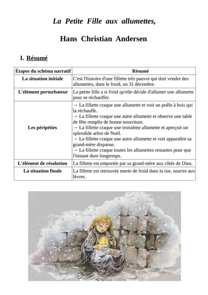 PDF  La petite fille aux allumettes - i-profs.fr