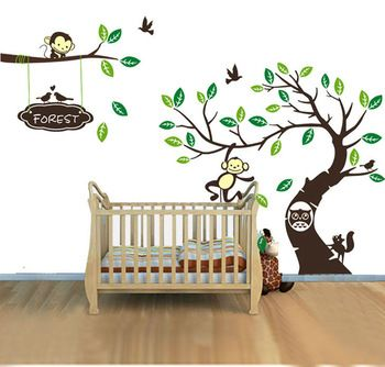 M Large Size Wall Sticker Monkey Design Removable Clean - How to put up a large wall sticker